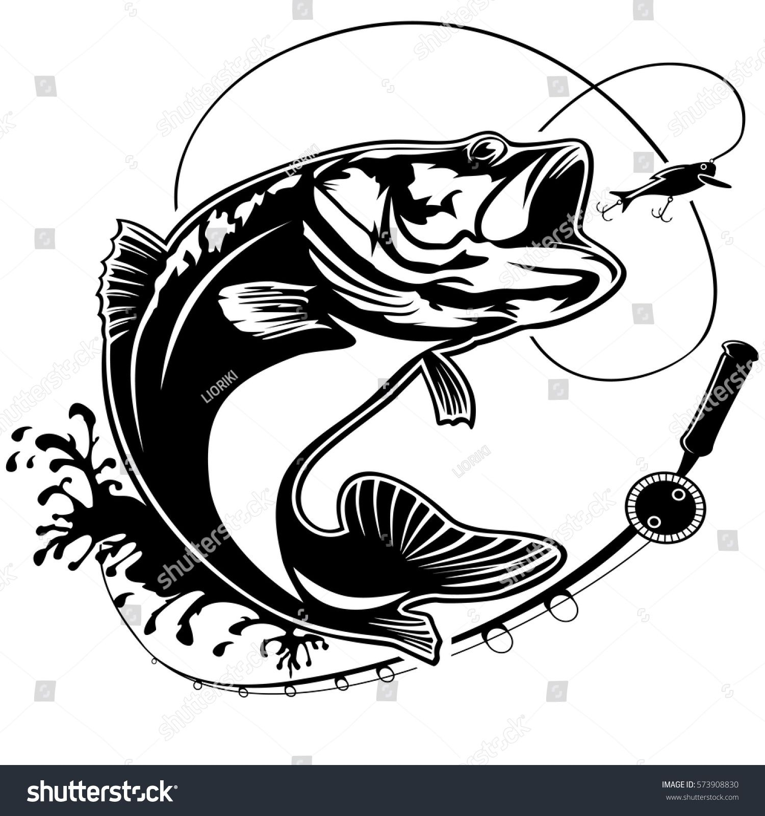 Fishing logo. Bass fish club emblem. Fishing theme vector