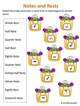 FREE Halloween Notes and Rests Worksheet -A FREE worksheet for ...