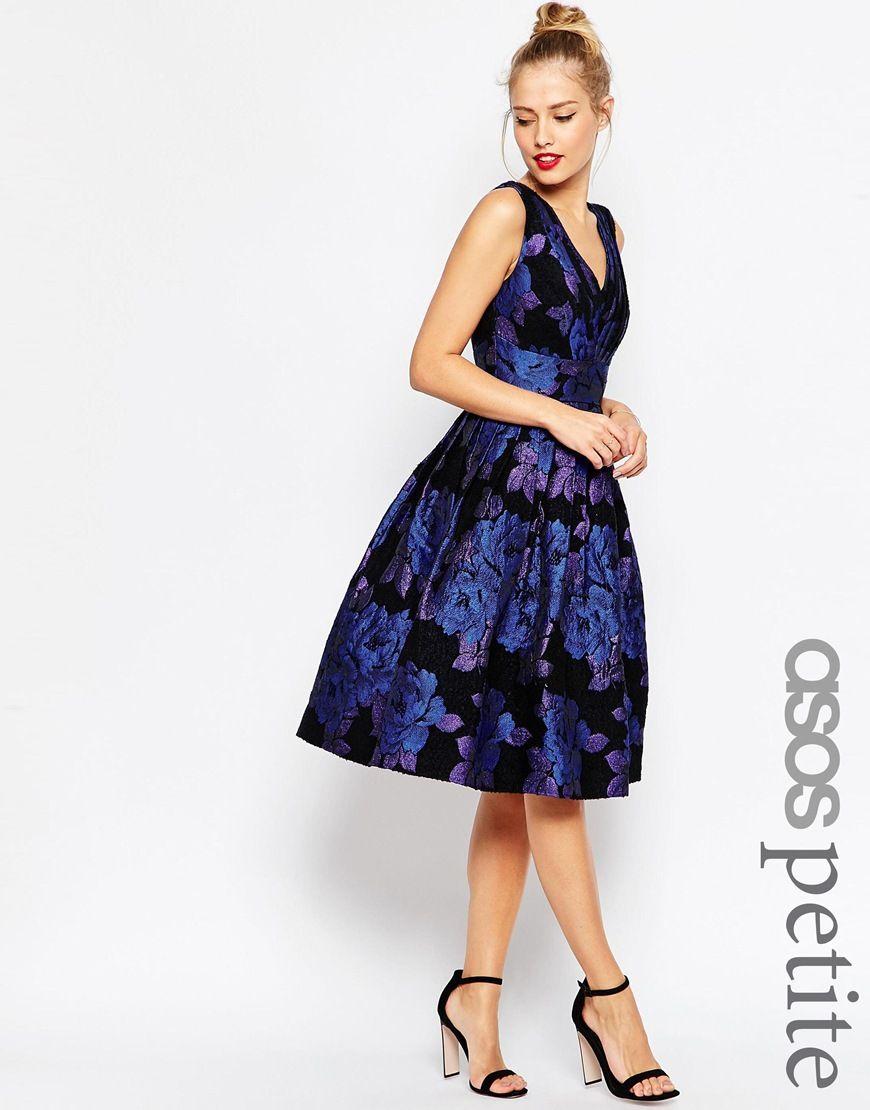 6f794d3e74c ASOS PETITE Blue Rose Jacquard Midi Prom Dress | Dream Closet | Prom ...