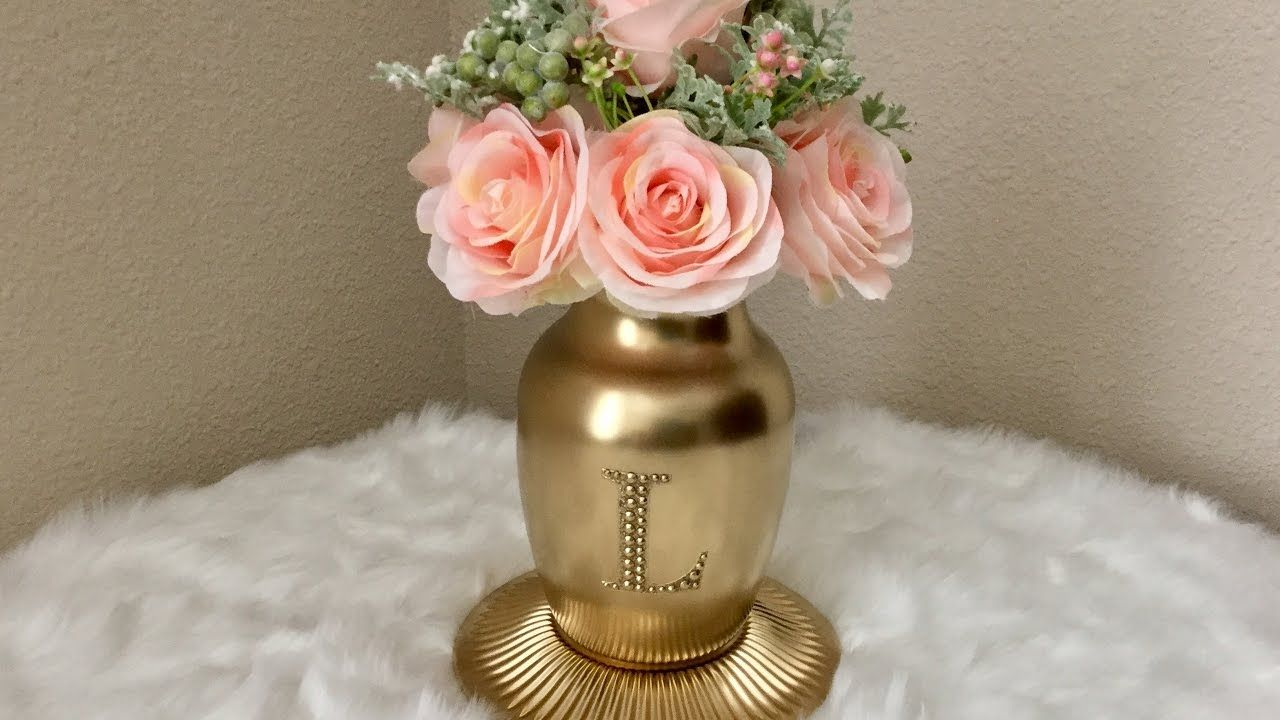 Gold Monogrammed Vase Dollar Tree Michaels Hobby Lobby Gold Monogram Artificial Flowers Diy Wedding Decorations