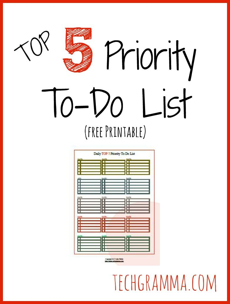 top 5 priority to do list free printable | best of tech gramma