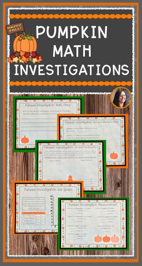 Pumpkin Math Activities: Measurement, Area, Perimeter, Graph, Arrays ...
