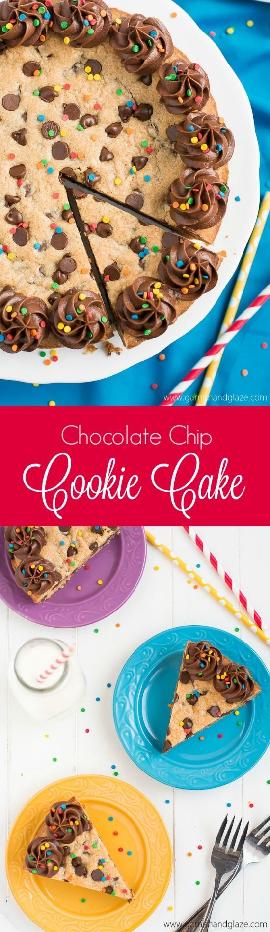 Chocolate Chip Cookie Cake  Garnish VIDEO This easy rich and chewy Chocolate Chip Cookie Cake is the perfect cake to make for your next birthday celebration