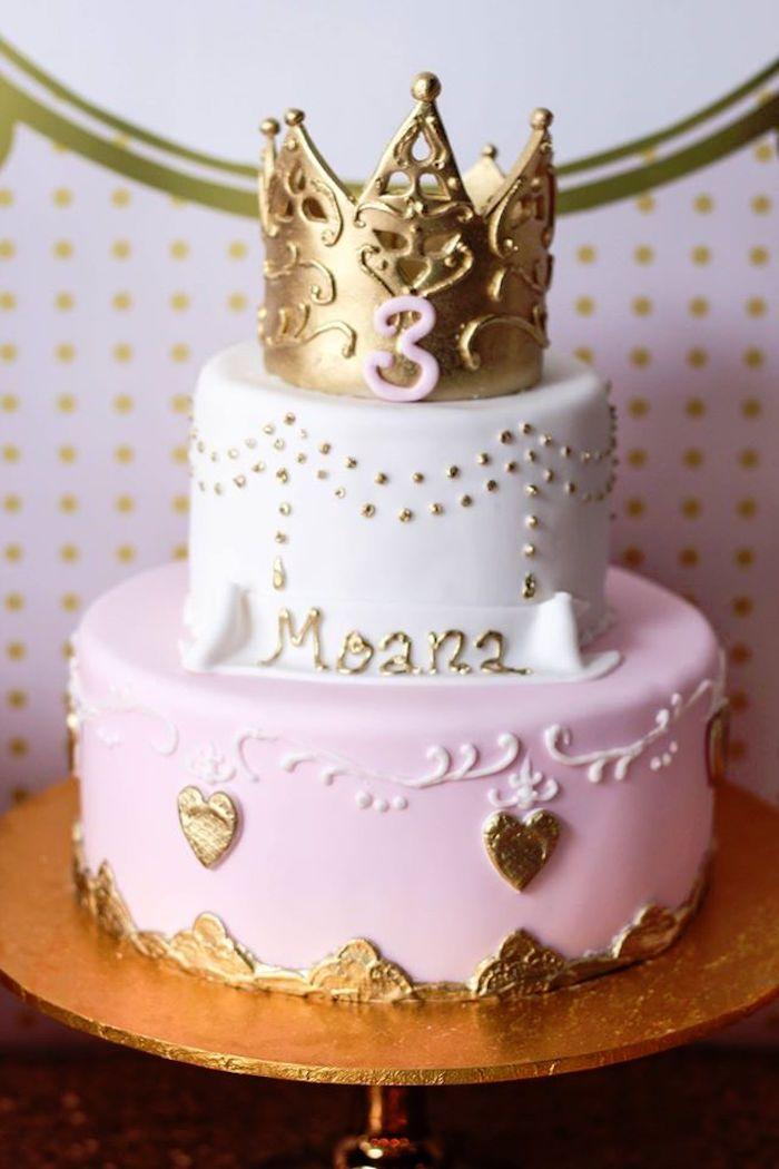 Cake from a Copper, Pink & Gold Princess Party via Kara's Party Ideas | KarasPartyIdeas.com (20)