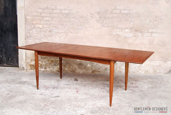 Table rallonges int gr e scandinave en teck gentlemen for Table scandinave a rallonge