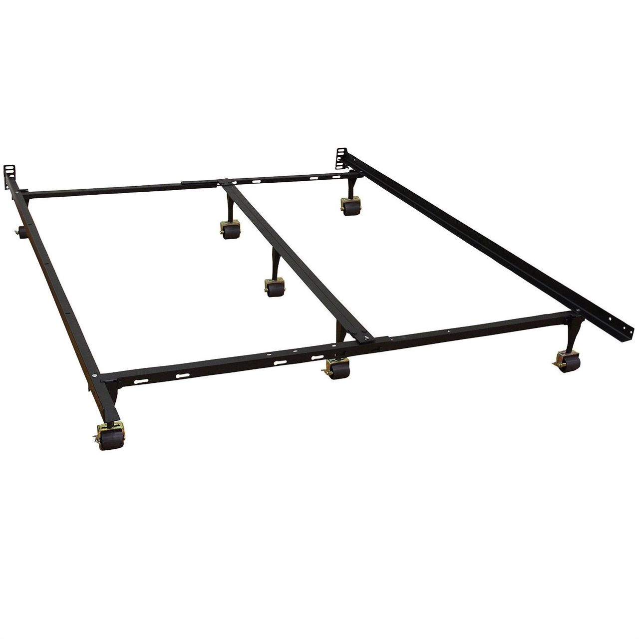 full sturdy metal frame 7 legs locking casters headboard brackets - Metal Queen Size Bed Frame