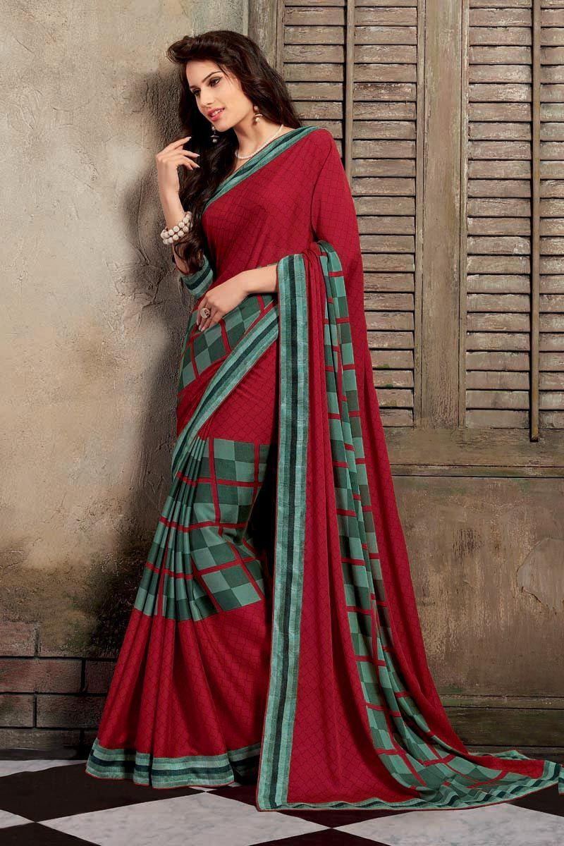 Red Crepe Printed Saree-Aarzoo6961