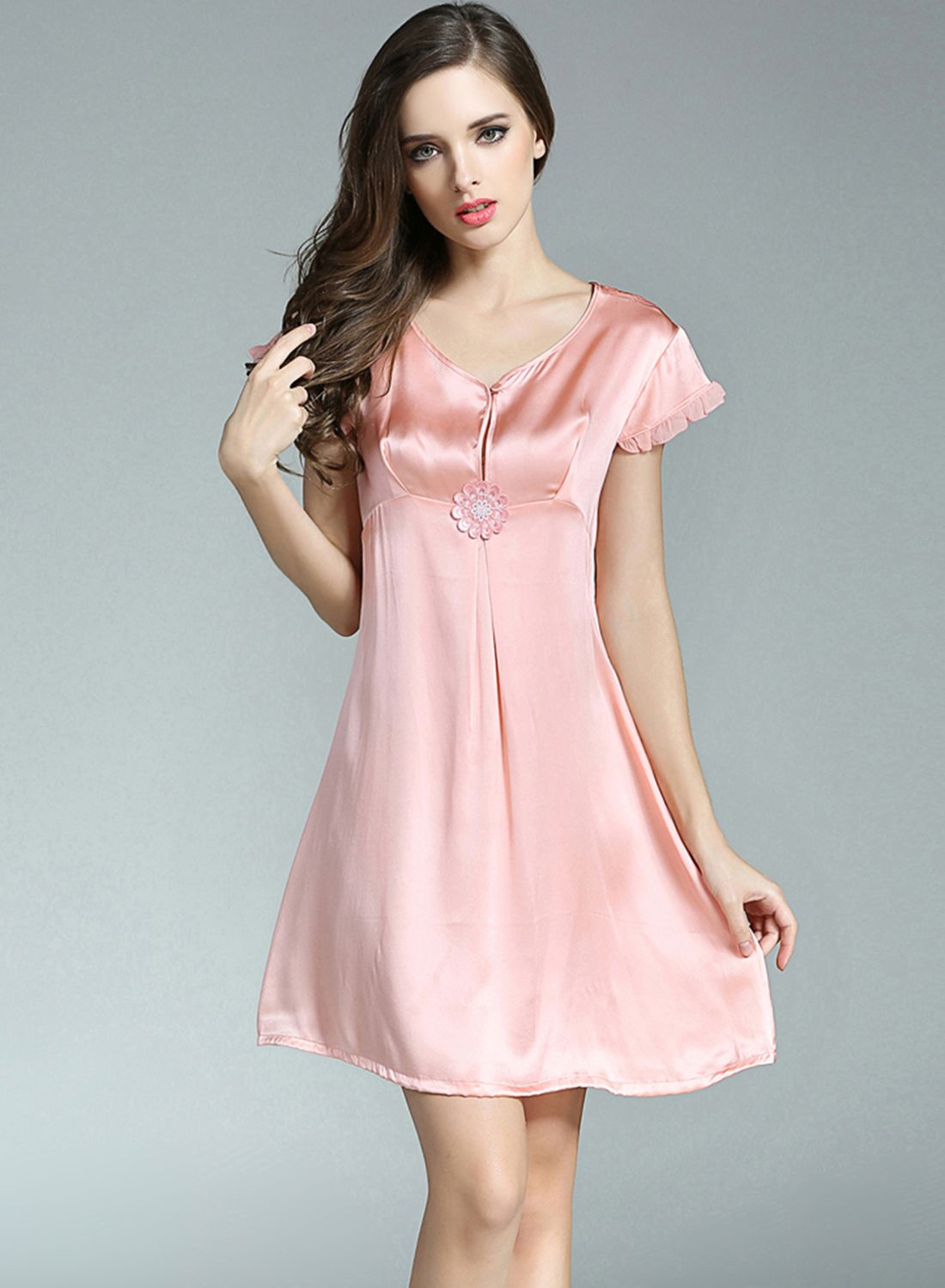 Comfortable Short Sleeve Pure Mulberry Silk Nightgown - OASAP.com ... 735480526