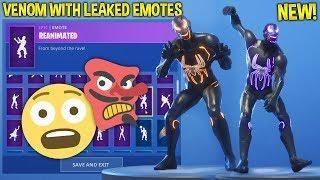 new fortnite venom skin showcase with leaked emotes evil spiderman - evil laugh in fortnite
