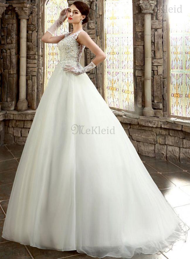A-Line Prinzessin Kirche Juwel Ausschnitt Brautkleid mit Bordüre mit ...