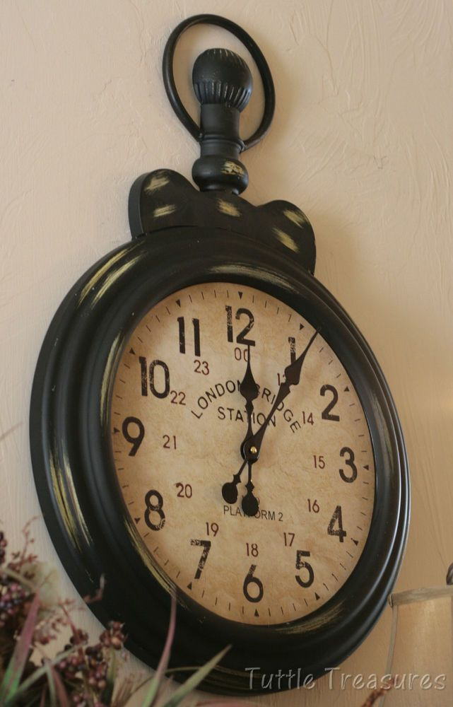 Tuscan Pocket Watch Wall Clock Large Vintage Style Gallery Antique
