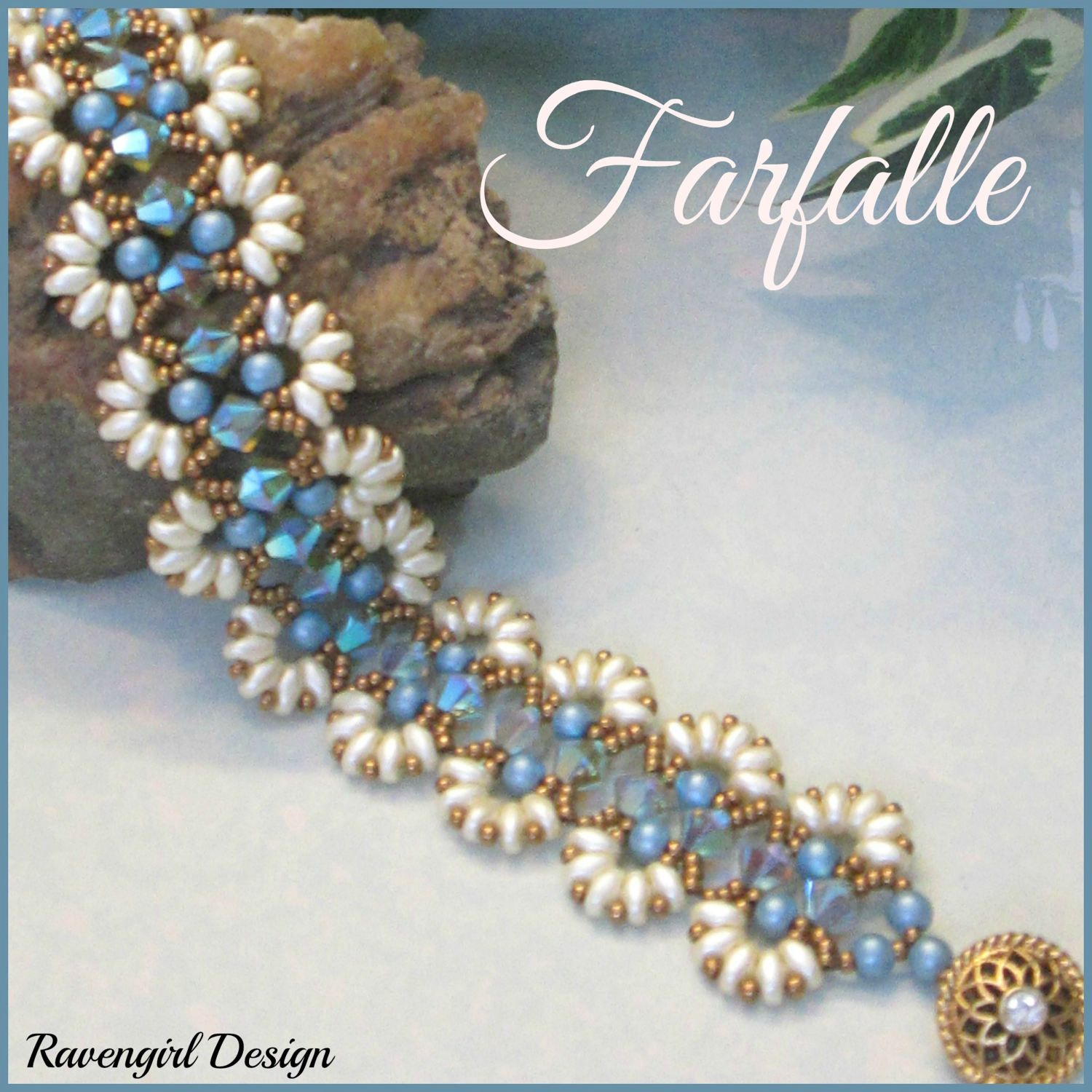 FARFALLE Beaded Swarovski Crystals, Pearls & Superduo Bracelet, Blue Cream, Gift for Her, Vintage Vctorian Style Handmade Jewelry by RavengirlDesign on Etsy