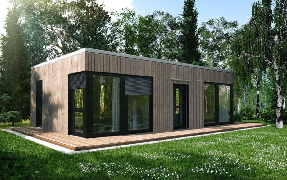 Ecohome42 portfolio massivholz bungalow l40 tiny house for Fertigteilhaus container