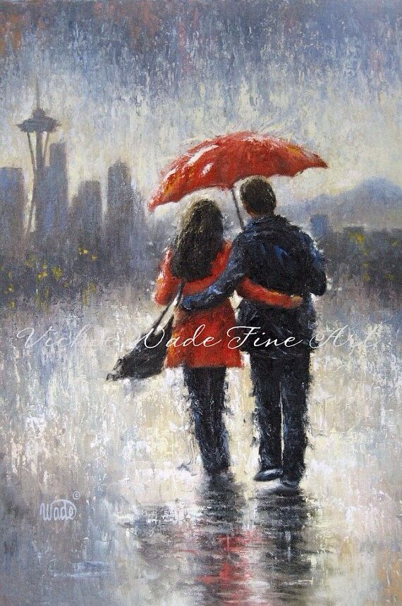 16x20 After the Rain Couple in Love Romantic Art Print Poster