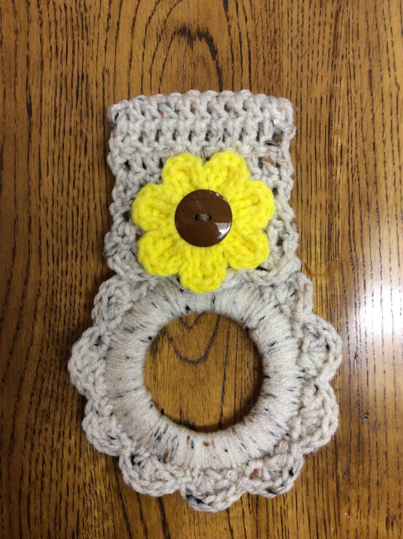 Kitchen towel hanger, towel hanger, crochet towel hanger, button ...