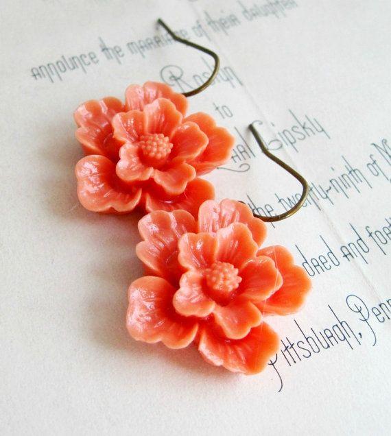 Tangerine Flower Earrings Sakura Flowers Vintage Style Coral Orange - Sweet Blossom