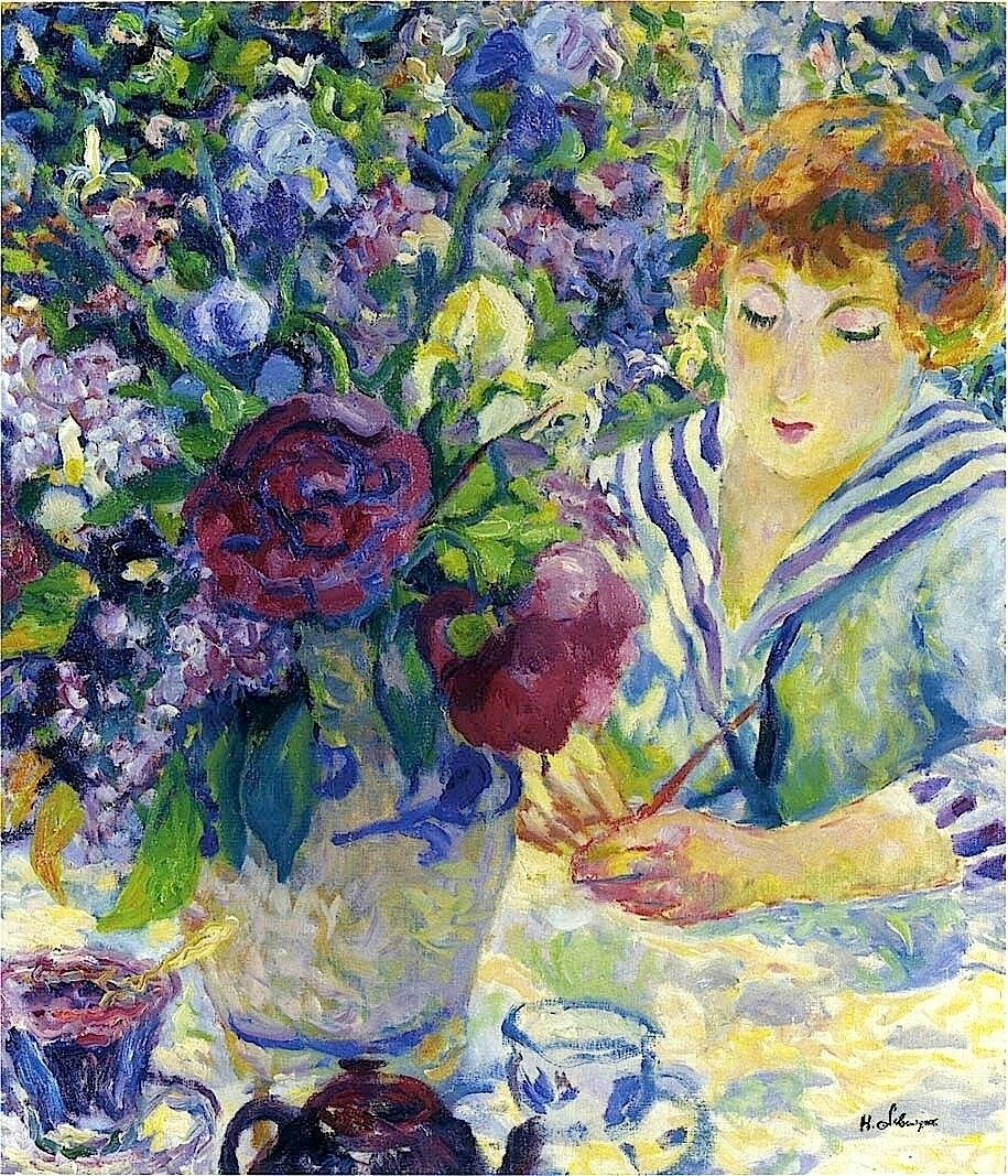 Flowers by post vase - Woman With A Vase Of Flowers Henri Lebasque