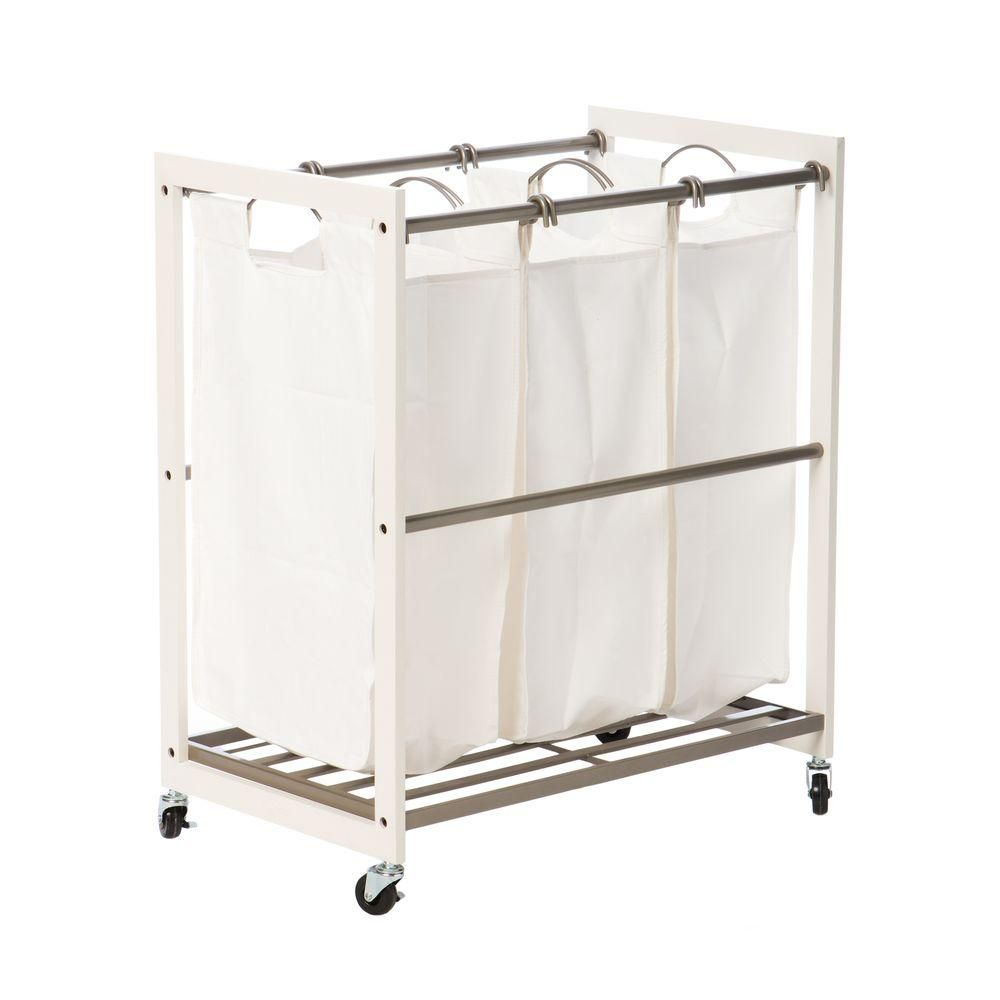 Trinity Mobile 3 Bag White Laundry Cart Tbfpnc 2103 Laundry Cart