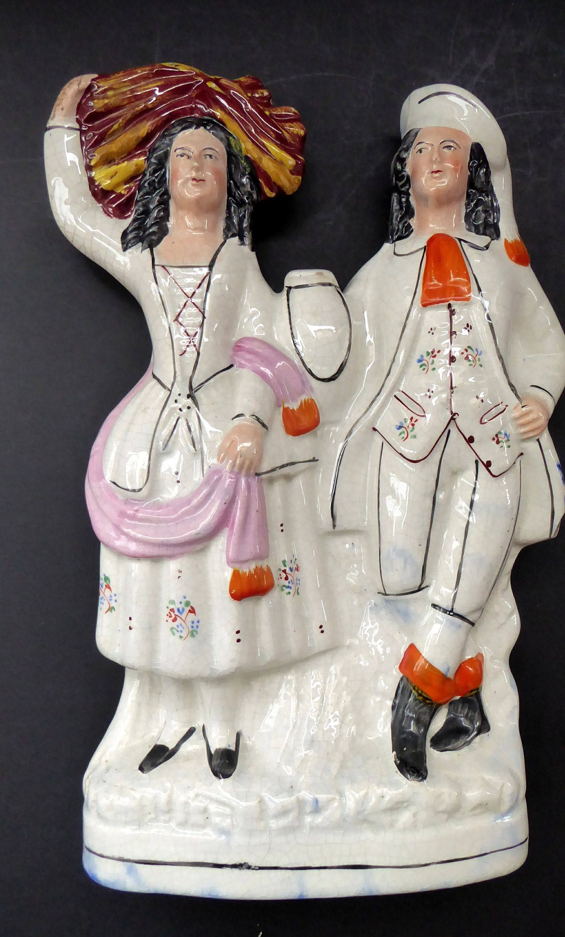 Large Antique Staffordshire Figurine Of A Country Couple Who Have Been Harvesting Height 12 1 2 Inches Staffordshire Figurines Antiques