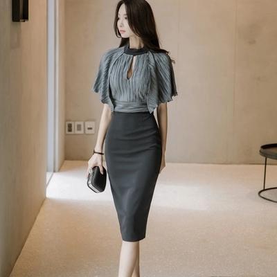 2018 Women New Fashion Style Faux Two Piece Elegant Plaid short Sleeve  Pencil Dresses d13d383fe98c