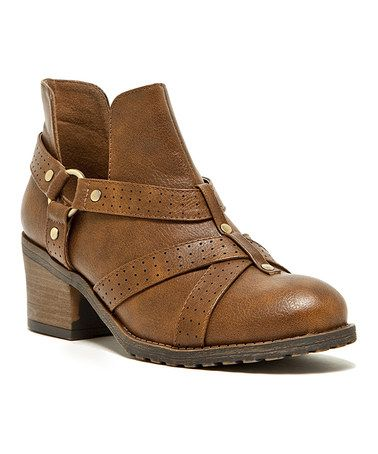 Look what I found on #zulily! Cognac Pompeo Ankle Boot by Qupid #zulilyfinds