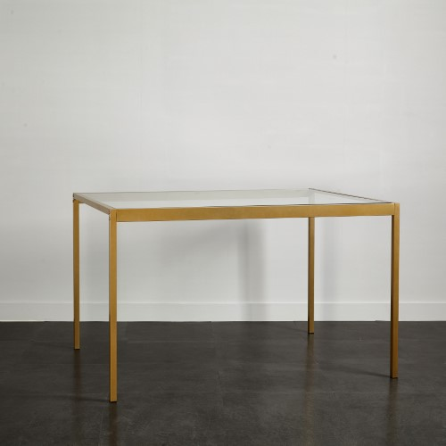 Urban Shop Tempered Glass And Metal Dining Table Medium Metal