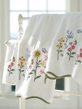 Embroidered Floral Towels Decoracion Banos Decoracion De Unas