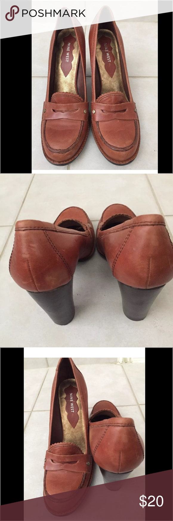 Nine West Brown Leather Heeled 8 1/2 NINE WEST 4 INCH HEELS, WOMEN SIZE 8 .5  Brown LEATHER UPPERS, QUITE CLEAN INSIDE AND OUT,   LIGHT WEAR ON SOLES  SCUFFS ON THE Leather from wearing.  Excellent condition worn few times Nine West Shoes Heels
