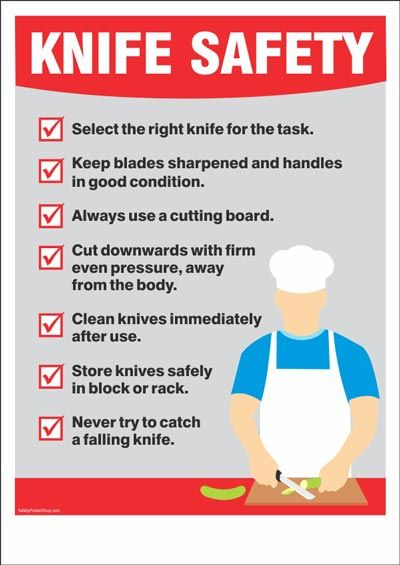 Knife Safety  Safety poster in 2019  Food safety sanitation Safety posters Food safety training
