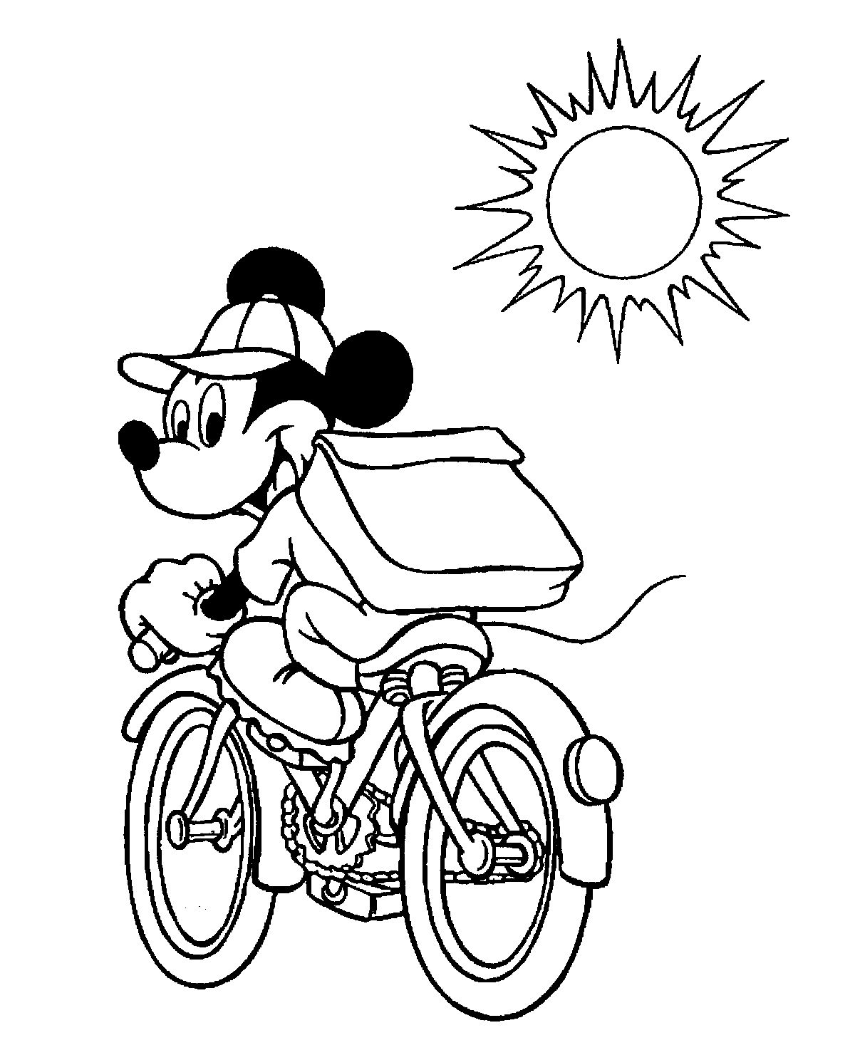 Mickey Mouse Bicycle | Mickey Mouse & Minnie Coloring Pages | Pinterest