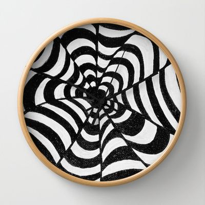 Op Art Black & White optical illusion psychedelic Wall Clock by original art by micki - $30.00