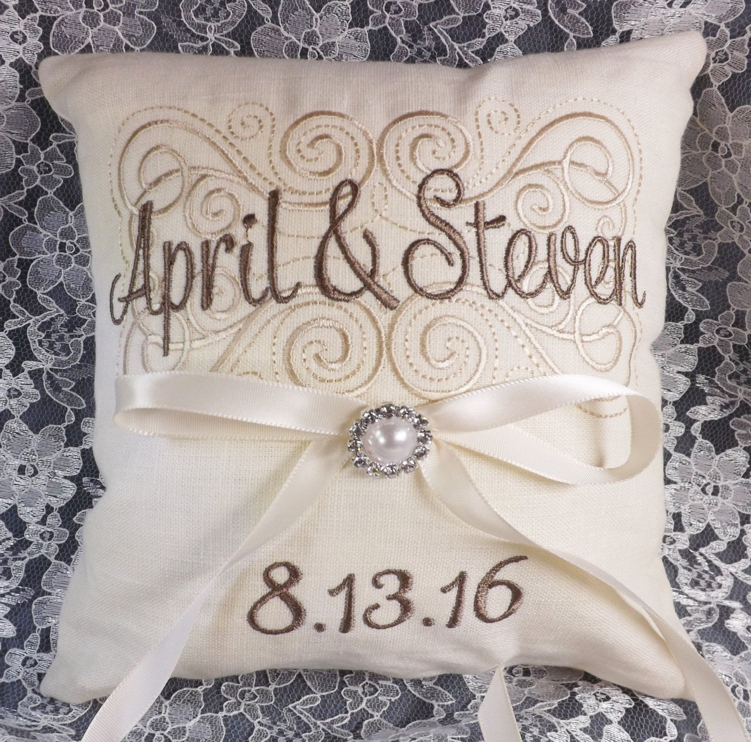 boho ring pillow suitable too for baby names Customizable monograms embroidery hoop for weddings personalized gift