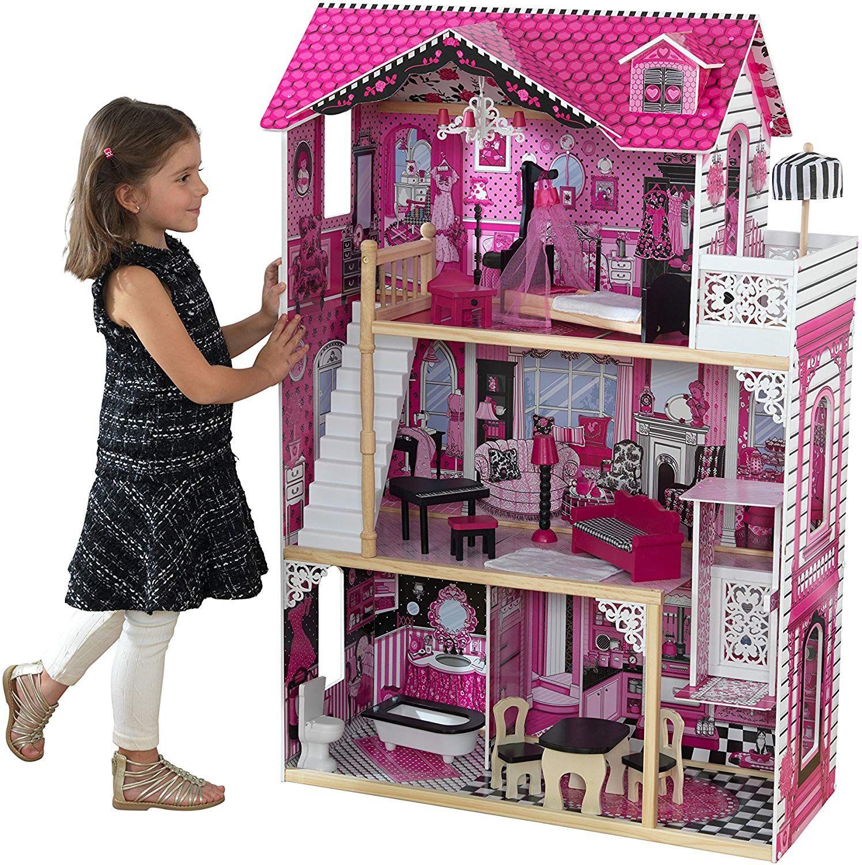 En Bois Enfants Maison de poupées avec meubles accessoires Playhouse Toys UK