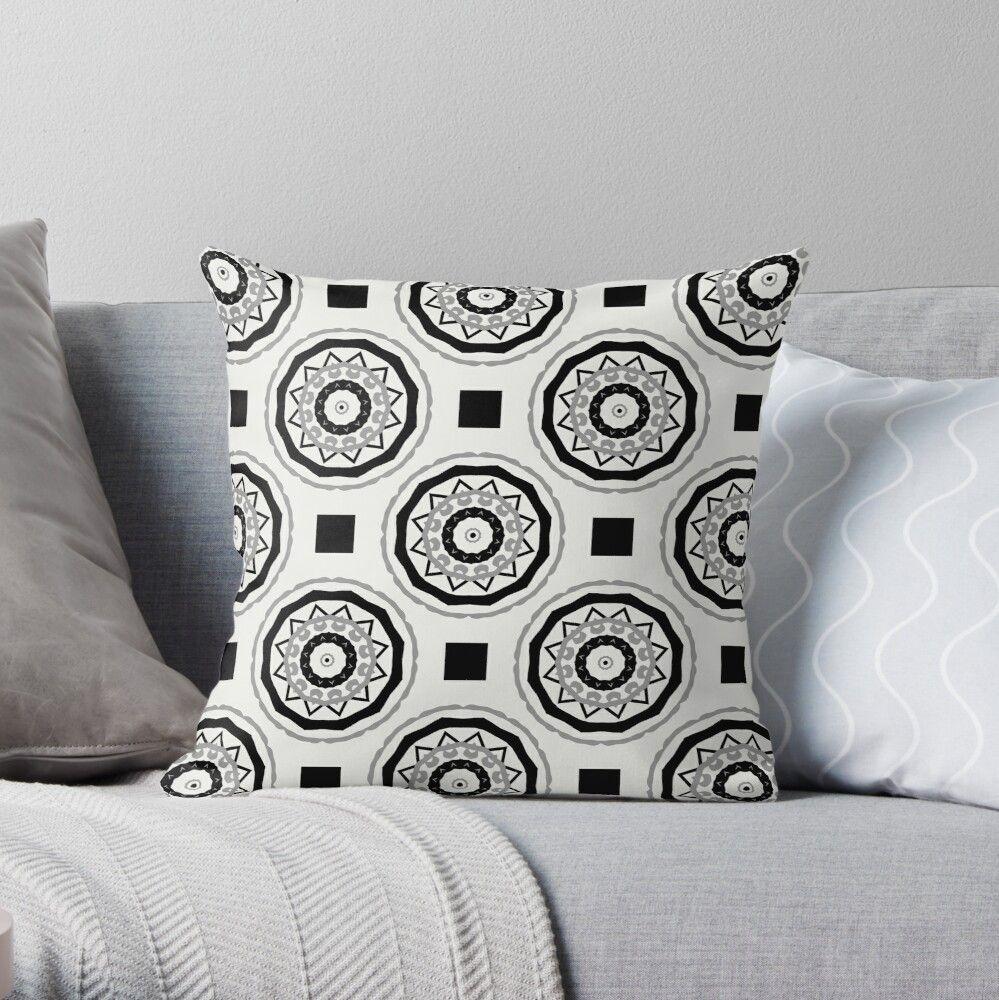 'black and white minimalistic geometric mandala pattern