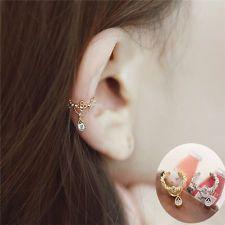 Official Website 1pc Womens Fashion Cz Crystal Gold Silver Flower U Shape Ear Cuff Clip-on No Piercing Earring Wrap Clip For Women Clip Earrings