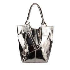 a41bf1f7ab8b2 Italy señora XXL cuero hand-bolso Shopper bandolera de piel metalizado   69