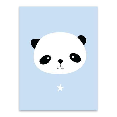 Kawaii Animal Panda Poster Print A4 Modern Nordic Cartoon Nursery
