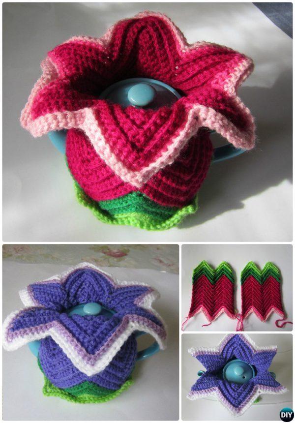 Crochet Daylily Tea Cosy Free Pattern-20 Crochet Knit Tea Cozy Free ...
