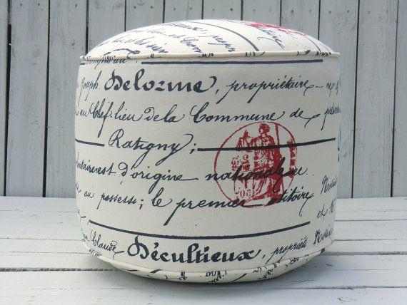 French Script Pouf Ottoman Round 18 Bean Bag Chair