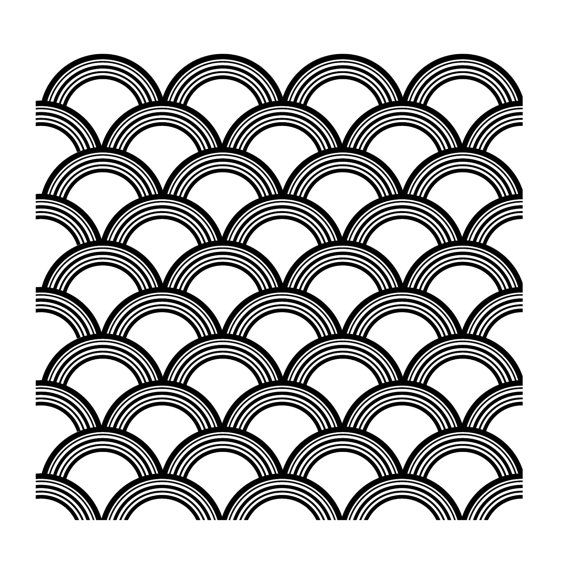 Art Deco Scallop Pattern Decal Wall Decal Custom Vinyl
