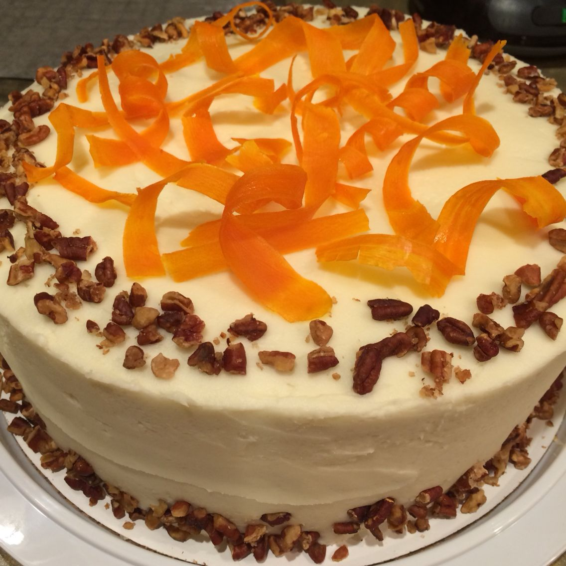 Carrot cake with candied carrot curls with images