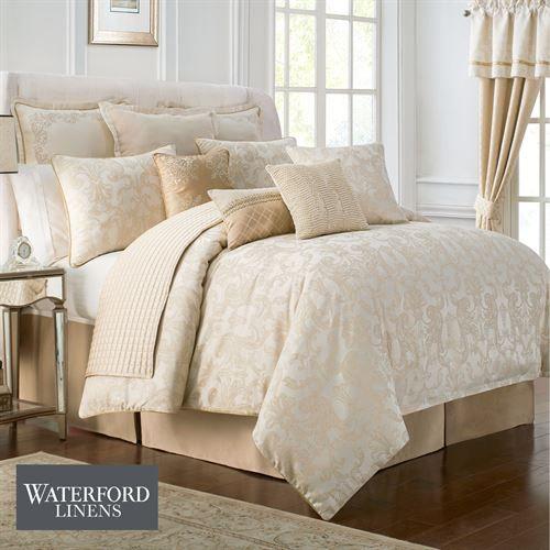 Britt Comforter Set Gold, Luxury Cream And Gold Bedding