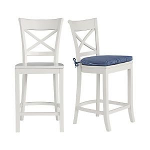 Vintner White Bar Stool And Indigo Stripe Cushion White Bar