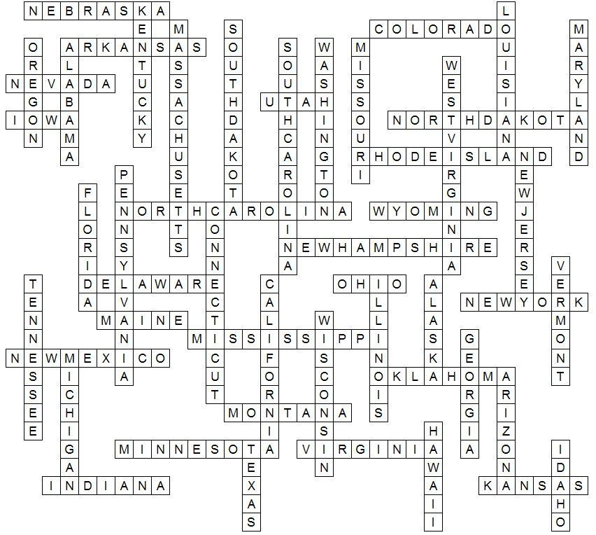 United States Crossword puzzle answer key. Crossword