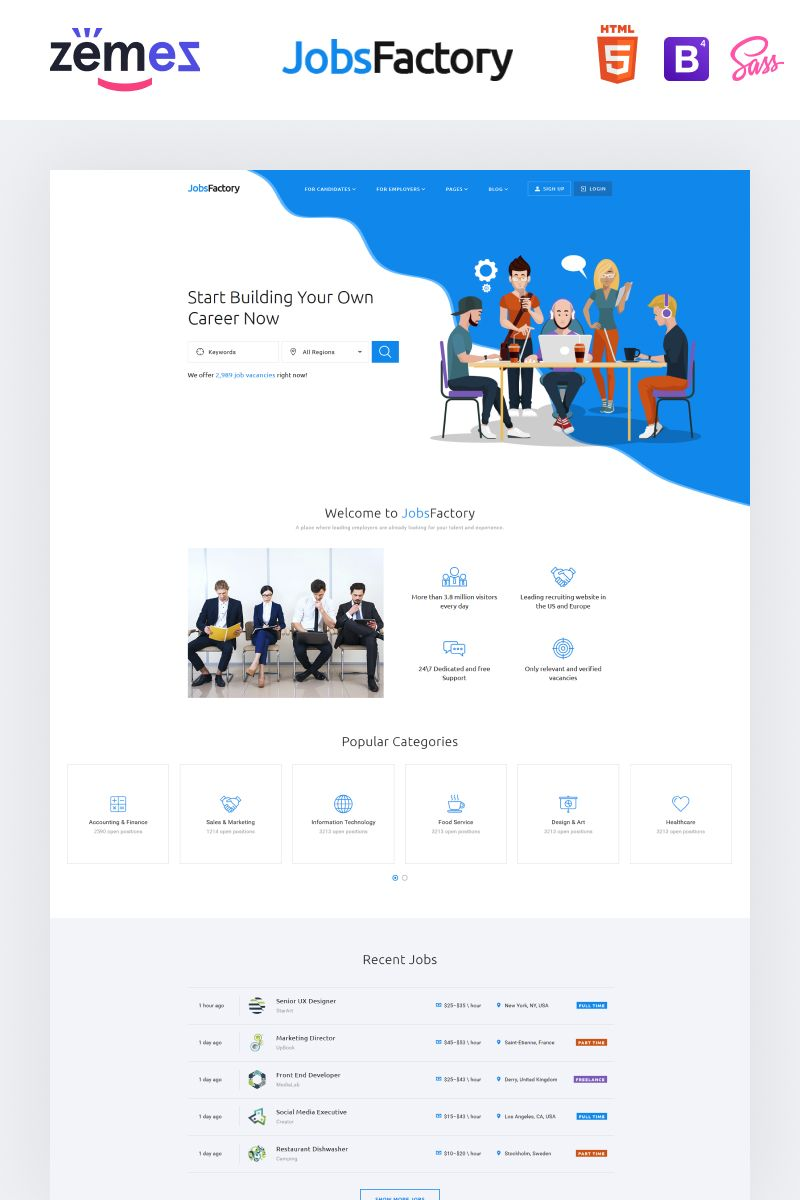 Jobsfactory Job Listing Template Website Template Web Design Jobs Job Portal