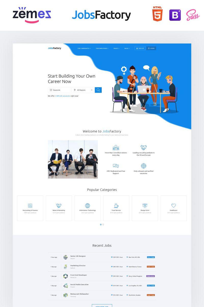 Jobsfactory Job Listing Template Website Template Web Design Jobs Job Portal