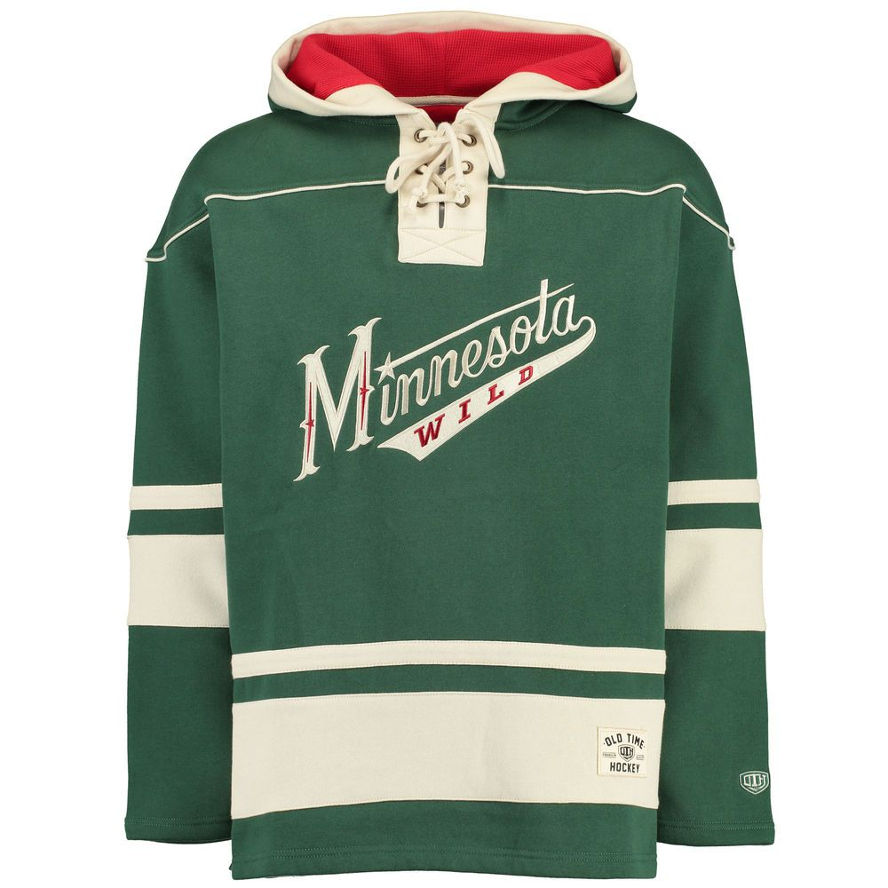 Men s Minnesota Wild Old Time Hockey Green Lacer Heavyweight Pullover Hoodie 36686776841