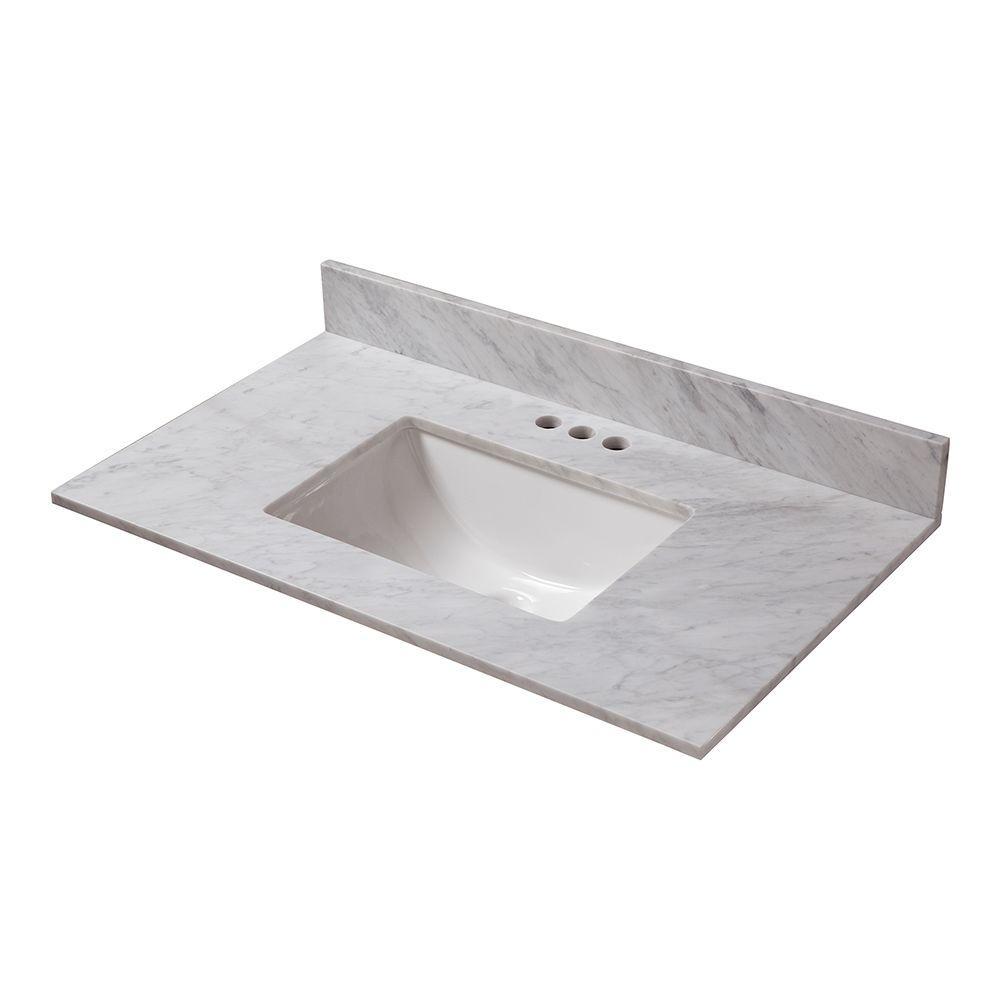 Sterling 25 In Vanity With Carrara Marble Top In 2021 Vanity Marble Wood Polished Porcelain Tiles