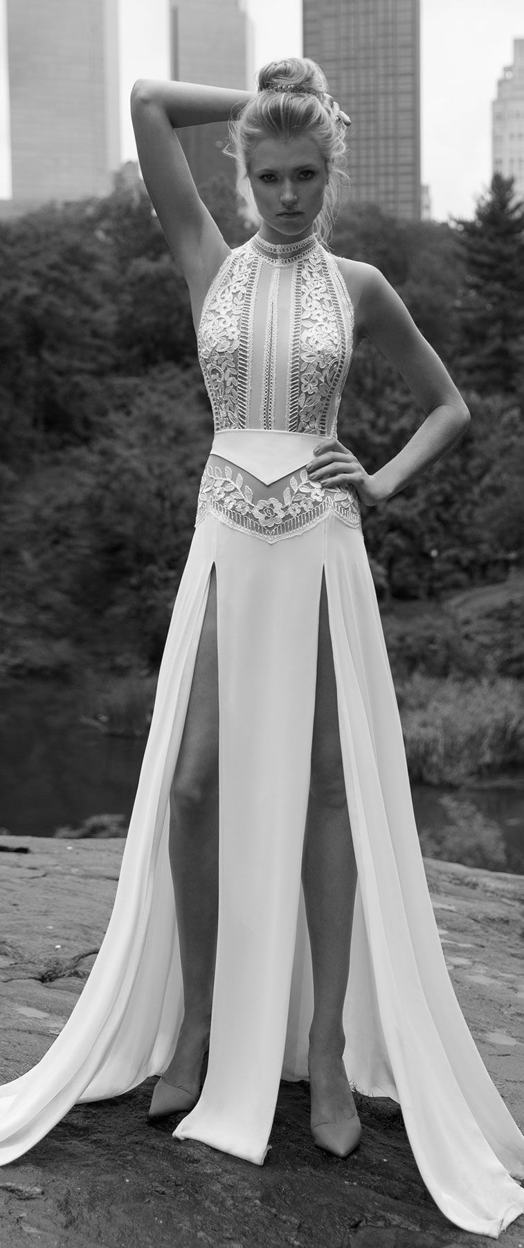 Lior Charchy NYC 2017 bridal halter neck sleeveless fully embellishment top sexy a line wedding dress with front legs cut : Lior Charchy 2017 Wedding Dresses #weddingdress #wedding #weddingdresses
