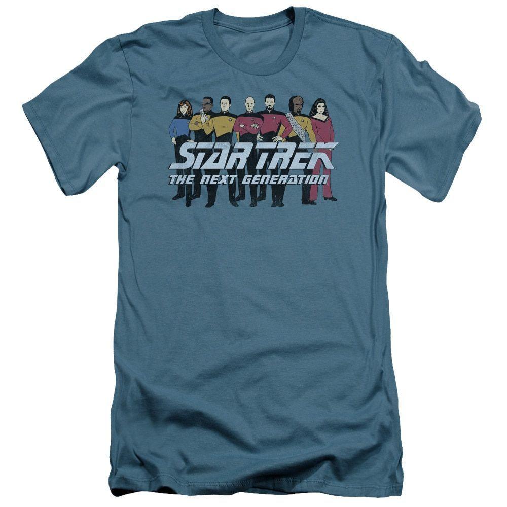 Star Trek/Line Up Short Sleeve Adult T-Shirt 30/1 in Slate